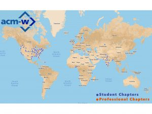 World Map with red and blue pins for ACM-W student chapters and professional chapters