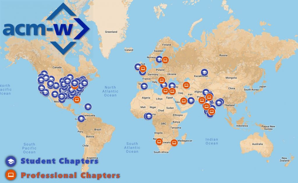 ACM-W Chapter Map with Legend -aug2019
